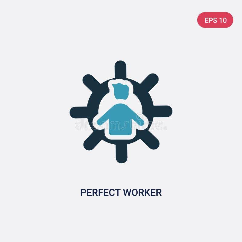 Icône parfaite de vecteur de travailleur de deux couleurs de concept de personnes le symbole parfait bleu d'isolement de signe de illustration libre de droits