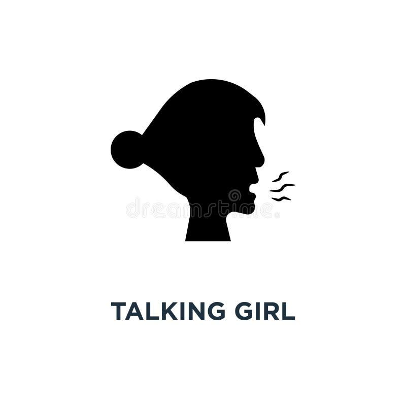 Icône parlante de fille Illustration simple d'élément Escroc parlant de fille illustration de vecteur