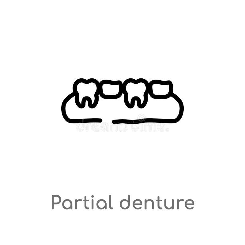 ic?ne partielle de vecteur de dentier d'ensemble ligne simple noire d'isolement illustration d'?l?ment de concept de dentiste Cou illustration libre de droits