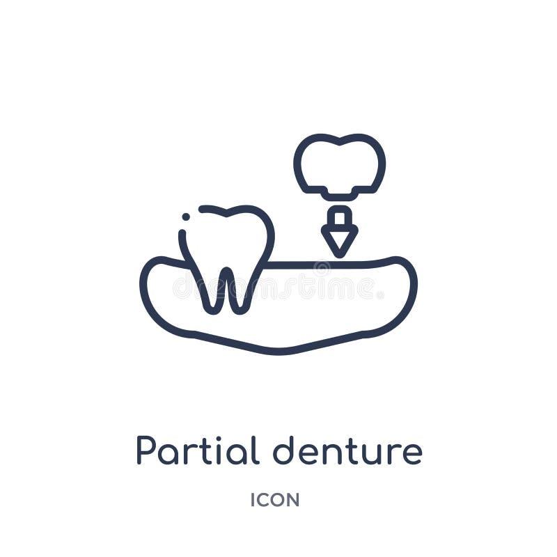 Icône partielle linéaire de dentier de collection d'ensemble de dentiste Ligne mince icône partielle de dentier d'isolement sur l illustration libre de droits