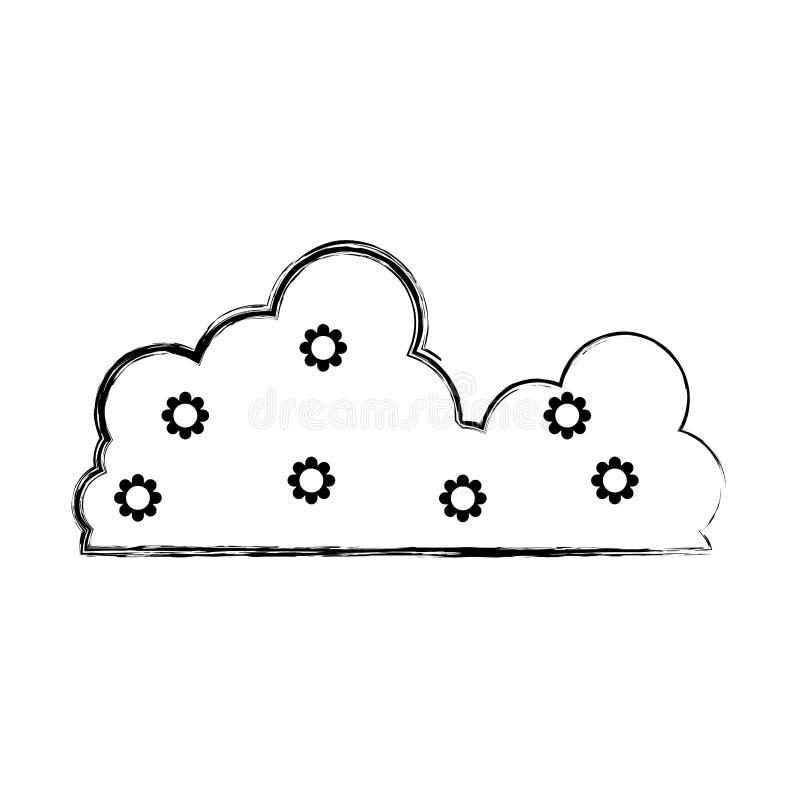 Icône pelucheuse de nuage de beauté de nature grunge illustration libre de droits