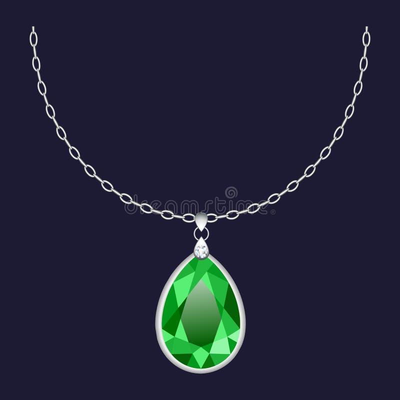 Icône pendante verte de collier, style réaliste illustration stock