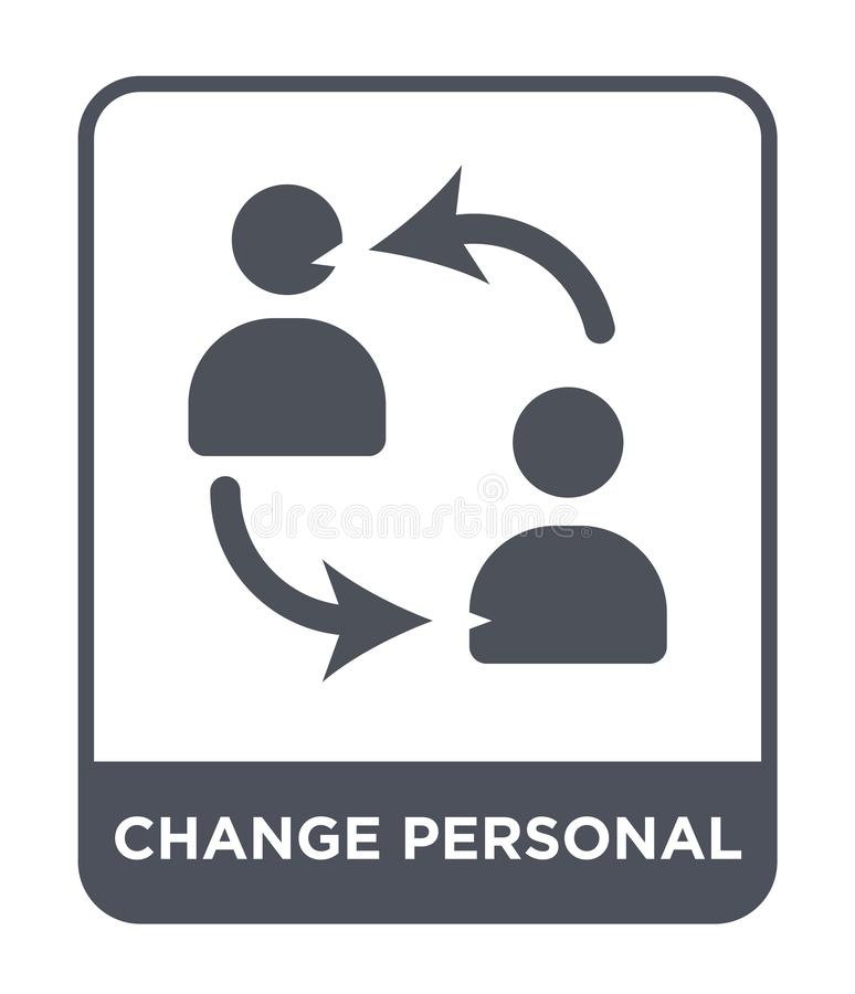 icône personnelle de changement dans le style à la mode de conception icône personnelle de changement d'isolement sur le fond bla illustration de vecteur
