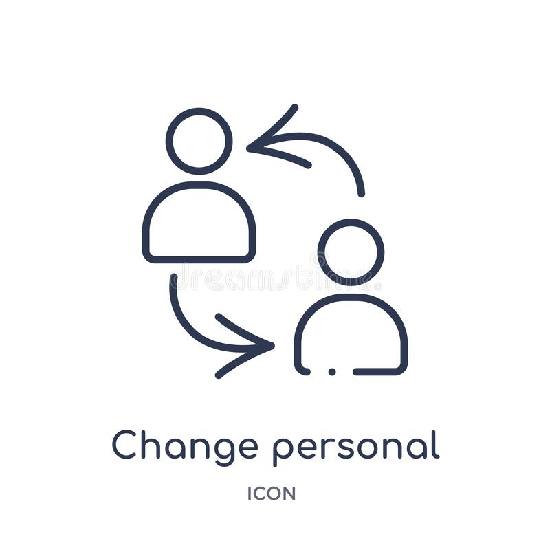 Icône personnelle de changement linéaire de collection d'ensemble de résumé du travail Ligne mince icône personnelle de changemen illustration stock
