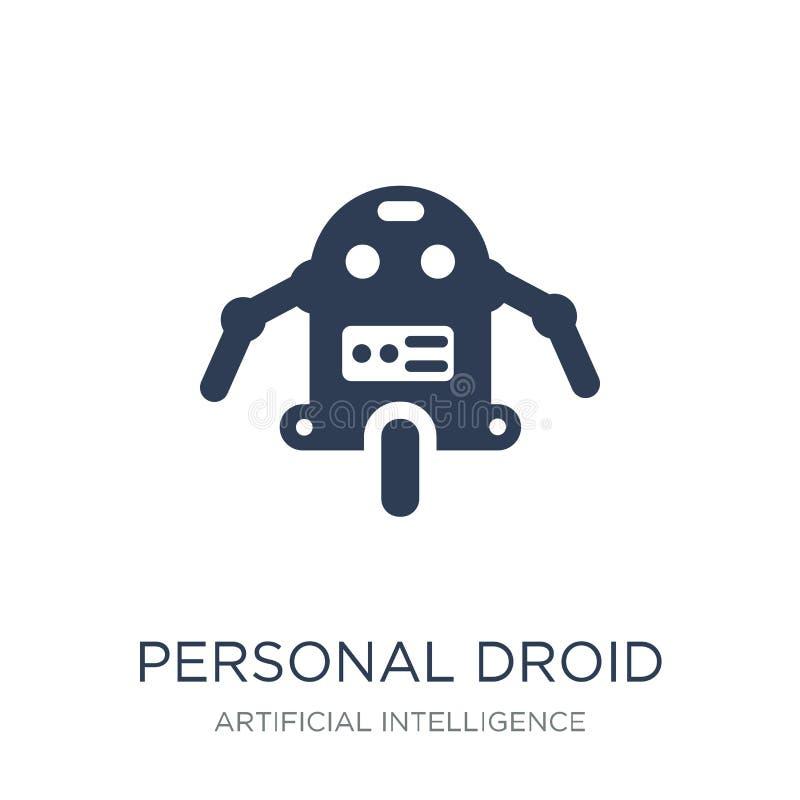 Icône personnelle de droid Icône personnelle de droid de vecteur plat à la mode sur W illustration stock