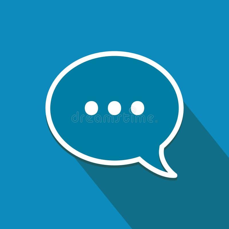 Icône plate avec la bulle de la parole Communications et symbole en ligne de mise en réseau illustration libre de droits