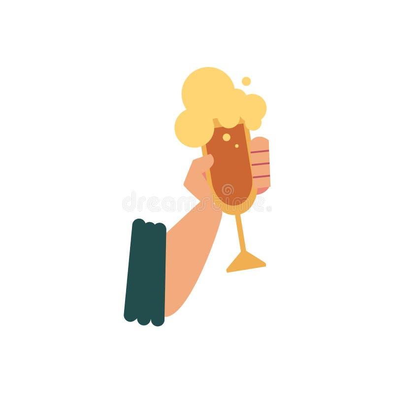 Icône plate avec la main masculine tenant le verre de bière illustration de vecteur