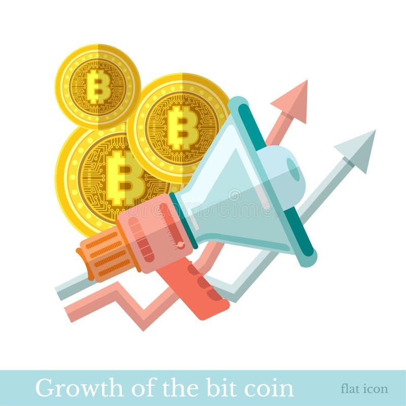 Icône plate avec la pièce de monnaie mordue par mégaphone et les flèches hautes La croissance de l'illustration mordue d'affaires illustration stock
