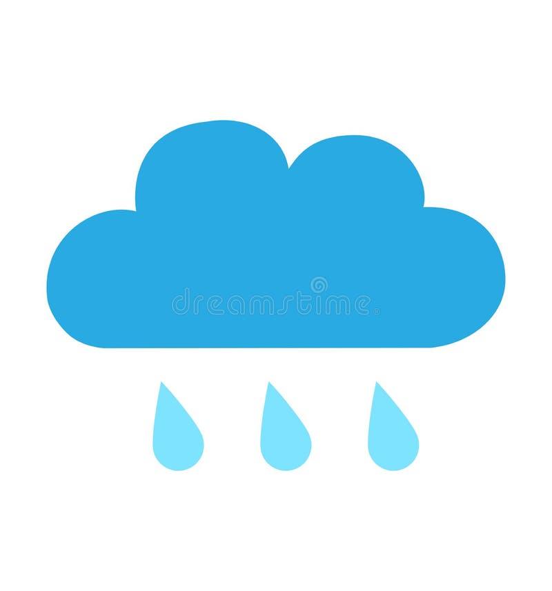 Icône plate bleue de nuage de pluie d'isolement sur l'illustration blanche de vecteur de fond pour la conception de site Web, APP illustration libre de droits