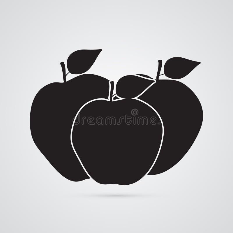Icône plate découpée de silhouette, conception simple de vecteur Ensemble de pommes illustration libre de droits