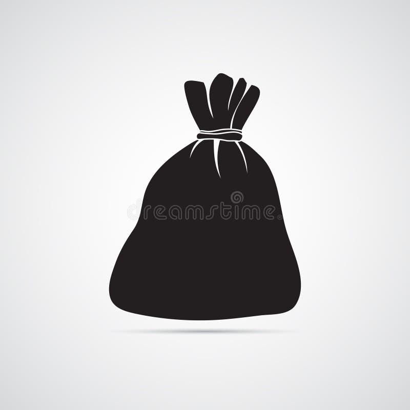Icône plate découpée de silhouette, conception simple de vecteur Sac vide illustration stock