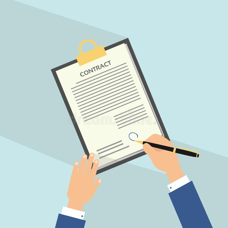 Icône plate d'accord avec la longue ombre Contrat de signature de main sur le livre blanc L'homme signe le contrat illustration de vecteur
