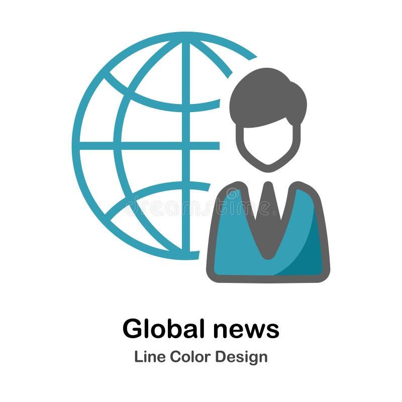 Icône plate d'actualités globales illustration de vecteur