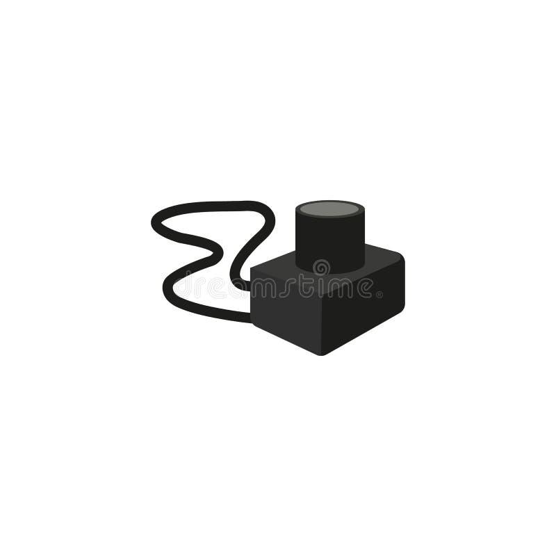 Icône plate d'appareil-photo de photo de vecteur avec la courroie illustration stock
