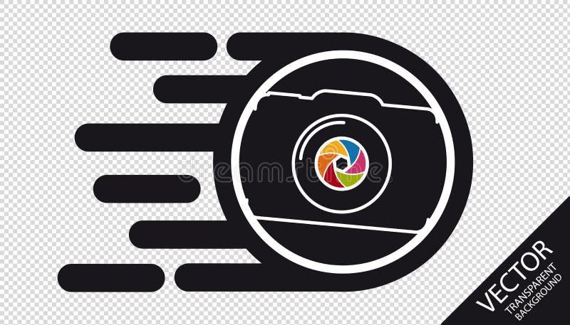 Icône plate d'appareil-photo de vitesse - concept rapide de développement de film - illustration de vecteur - d'isolement sur le  illustration de vecteur