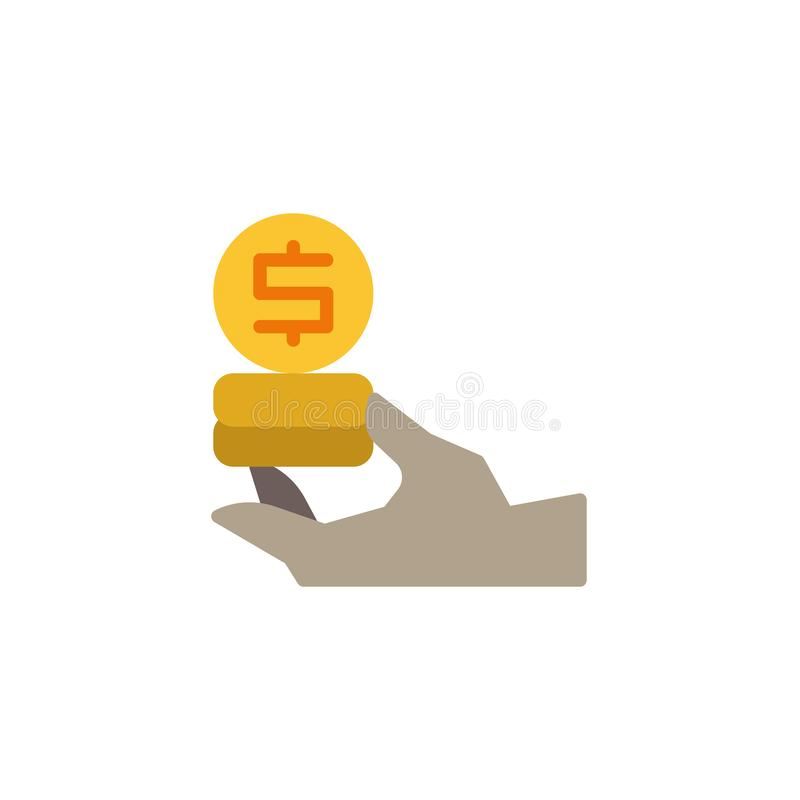 Icône plate d'argent du dollar de participation de main illustration de vecteur