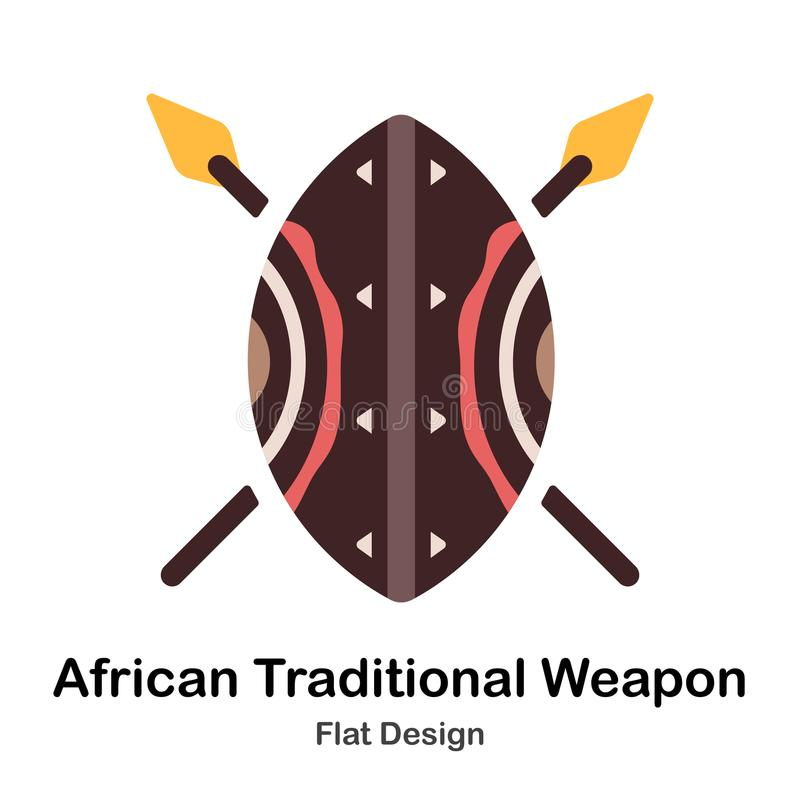 Icône plate d'arme traditionnelle africaine illustration libre de droits