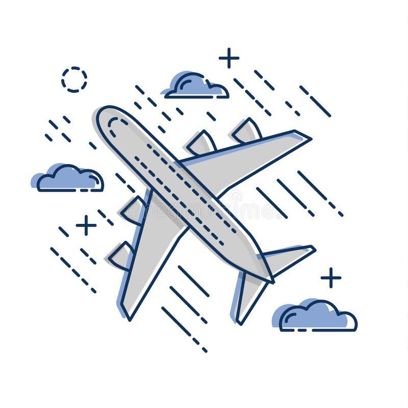 Icône plate d'avion de ligne d'avion d'isolement sur le fond blanc Appartement et style de schéma illustration libre de droits
