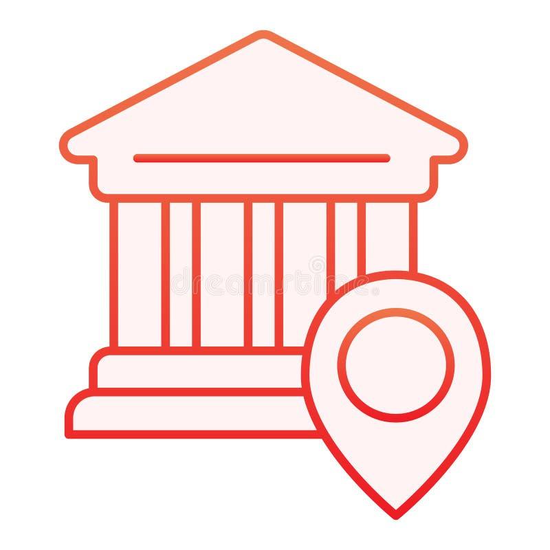 Icône plate d'emplacement de banque Icônes rouges d'emplacement d'université dans le style plat à la mode Pin sur la conception d illustration libre de droits