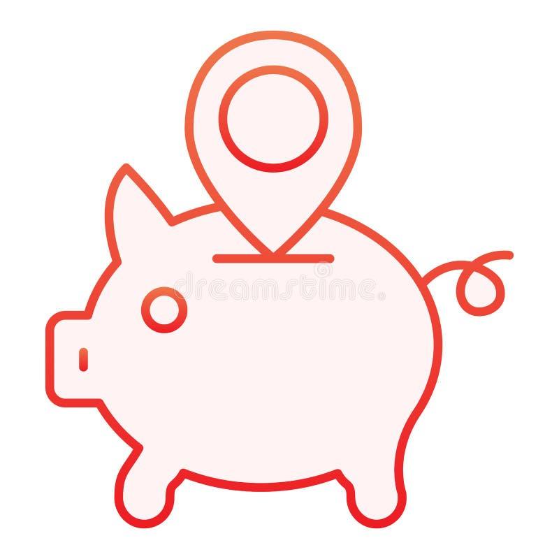 Icône plate d'emplacement de tirelire Tirelire avec les icônes rouges de goupille de carte dans le style plat à la mode Conceptio illustration libre de droits