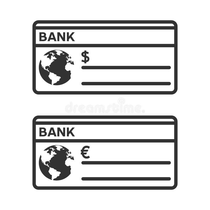 Icône plate d'ensemble de chèque de banque sur le blanc illustration de vecteur