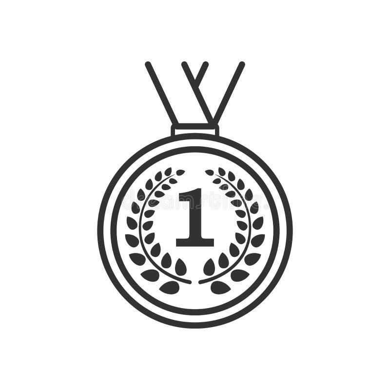 Icône plate d'ensemble de médaille de gagnant sur le blanc illustration libre de droits