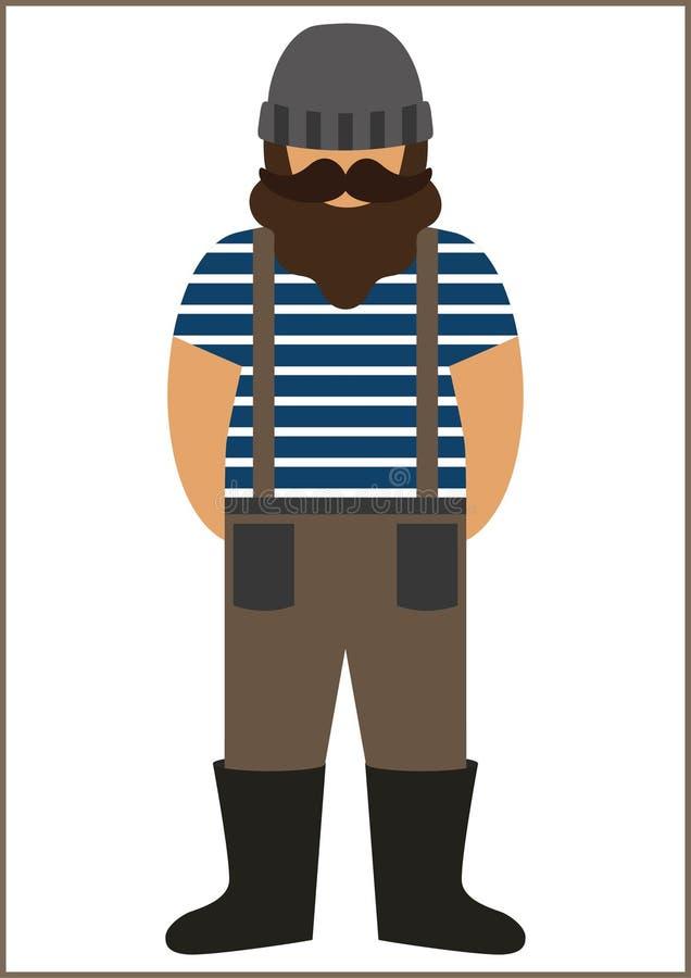 Icône plate d'homme de pêcheur/marin - portant dans le gilet photographie stock