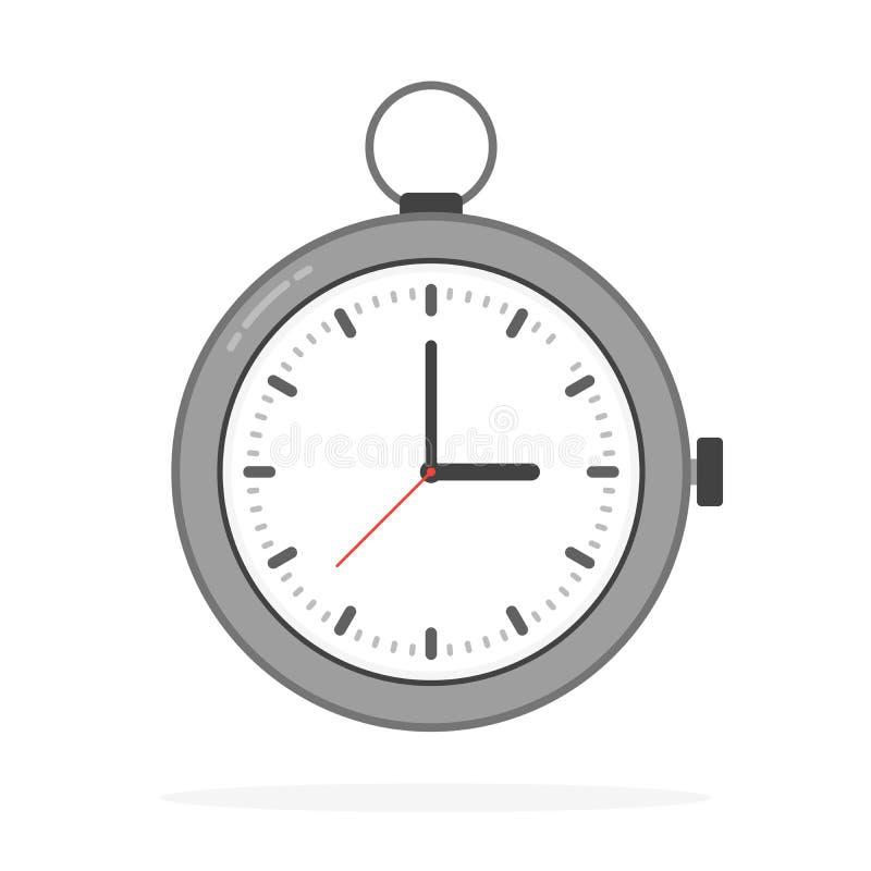 Icône plate d'horloge Concept de temps du monde Fond d'affaires Vente d'Internet Infographic quotidien illustration stock