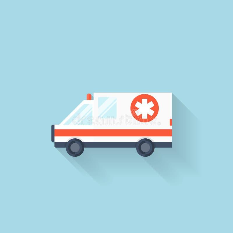 Icône plate d'Internet de Web Véhicule d'ambulance illustration de vecteur