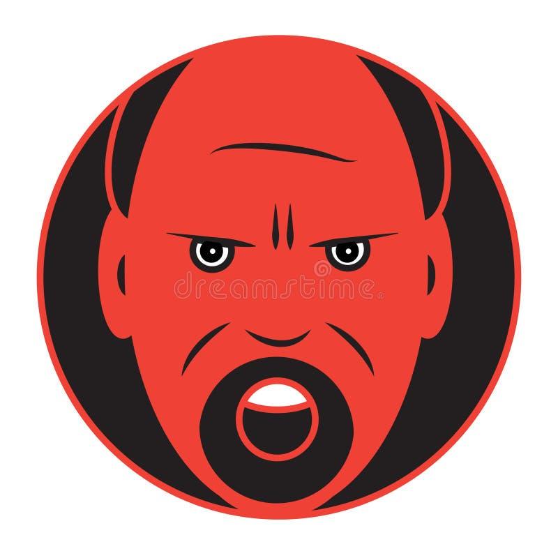 Icône plate d'un homme fâché illustration stock