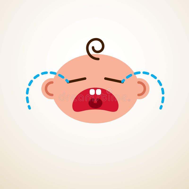Icône plate de bébé de vecteur mignon de bande dessinée, pleurer triste et enfant malheureux illustration libre de droits
