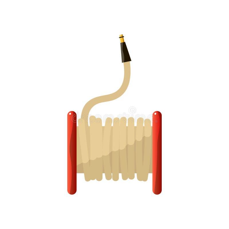 Icône plate de bobine de tuyau d'incendie rouge d'isolement sur le fond blanc illustration de vecteur