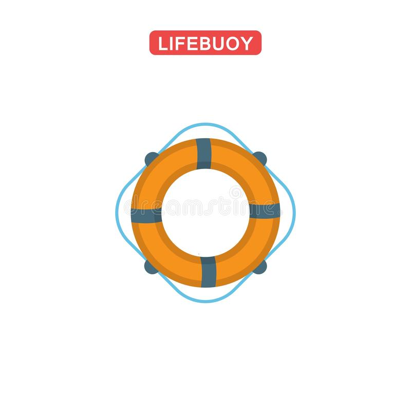 Icône plate de bouée de sauvetage illustration stock