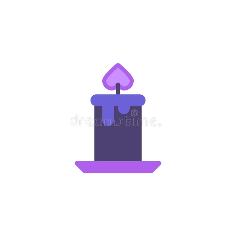 Icône plate de brûlure de lumière de bougie illustration de vecteur