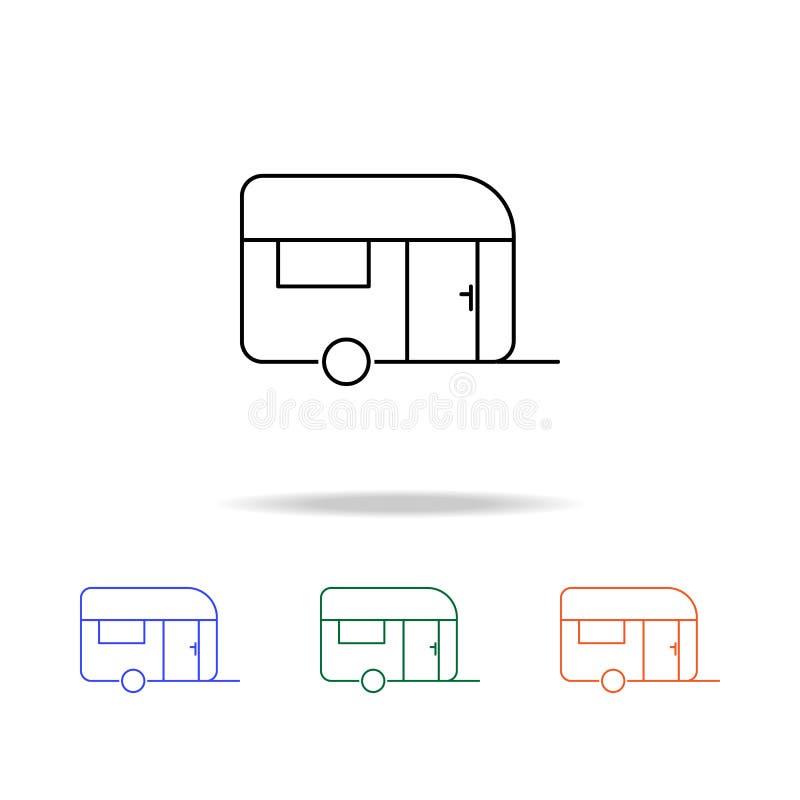 Icône plate de caravanes Éléments des immobiliers dans les icônes colorées multi Icône de la meilleure qualité de conception grap illustration de vecteur