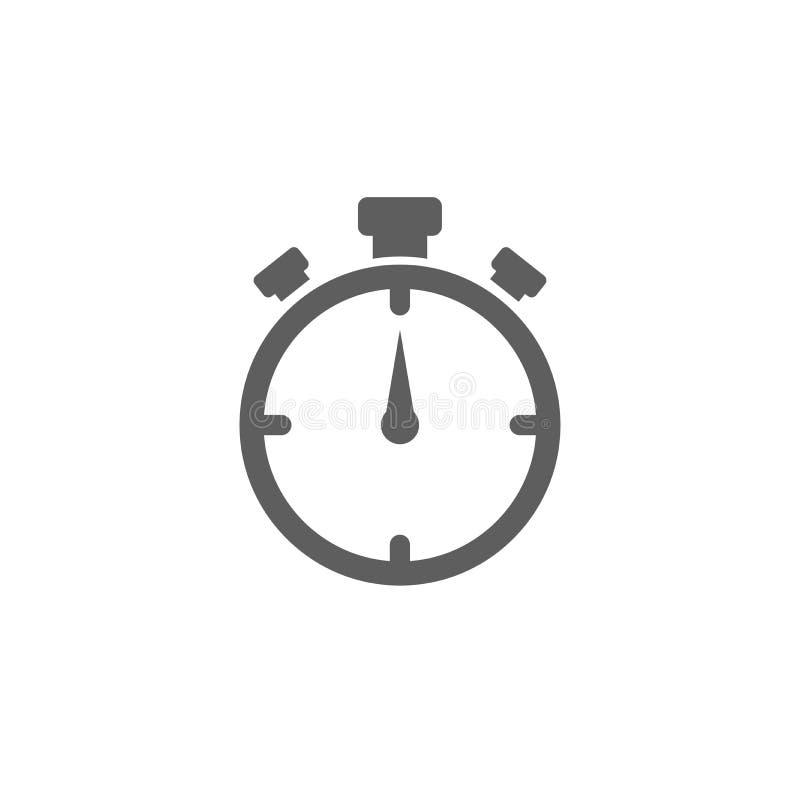 Icône plate de chronomètre noir d'isolement sur le blanc o illustration stock