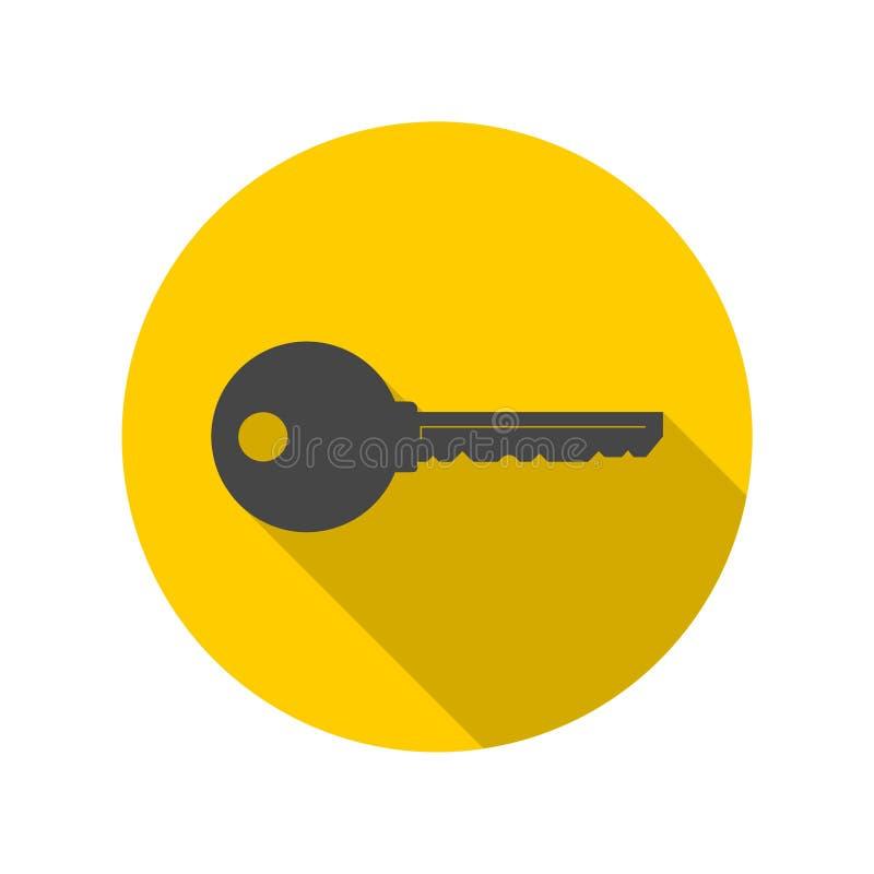 Icône plate de clé de couleur illustration stock