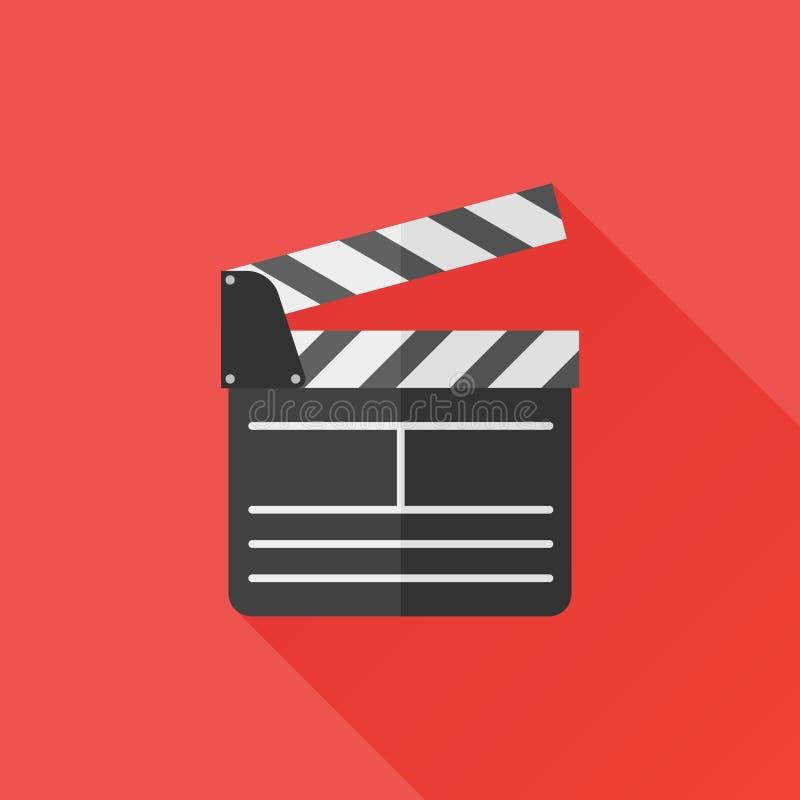 Icône plate de claquette de directeur Panneau de clapet de film Illustration de vecteur illustration libre de droits
