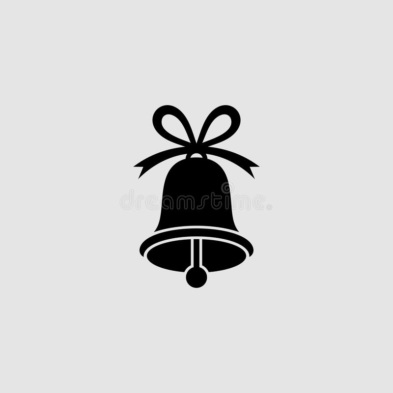 Icône plate de cloche de Noël Icône plate de Bell photos libres de droits