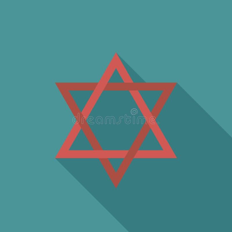 Icône plate de conception d'ombre d'étoile de David longue illustration stock