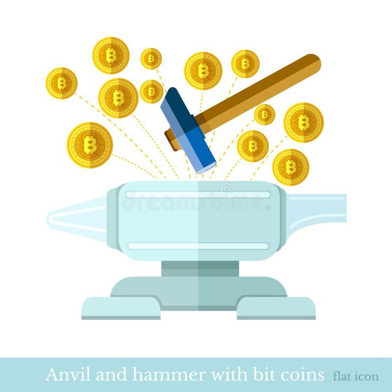 Icône plate de concepts de vecteur de conception des battements de marteau de finances et d'affaires sur le vol de pièces de monn illustration libre de droits