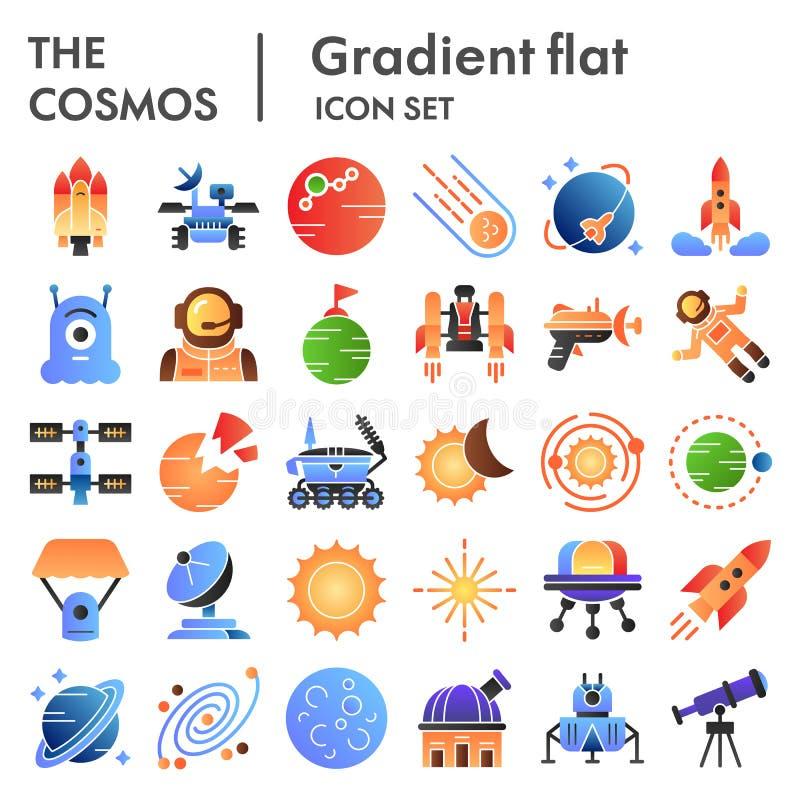 Icône plate de cosmos réglée, symboles collection, croquis de vecteur, illustrations de logo, gradient de l'espace de couleur de  illustration stock