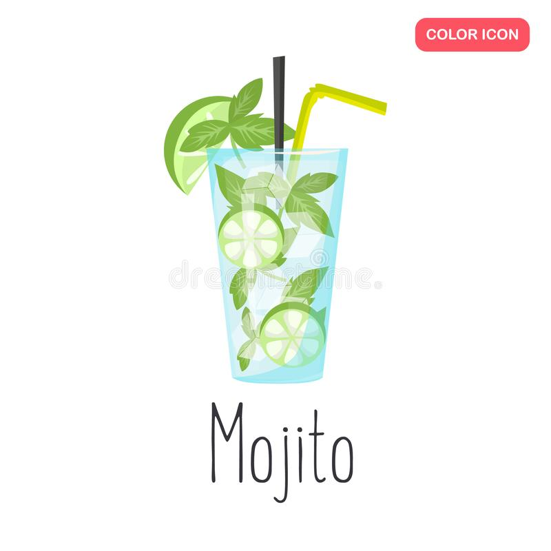 Icône plate de couleur de cocktail de mojito d'alcool illustration stock