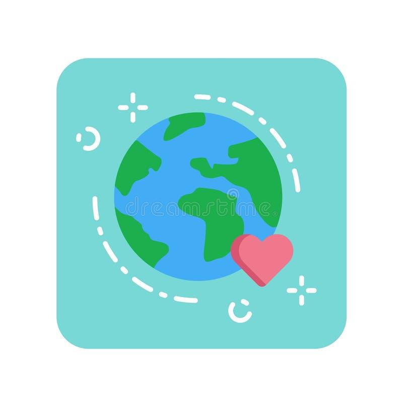 Icône plate de couleur de la terre Concept de protection de l'environnement illustration de vecteur