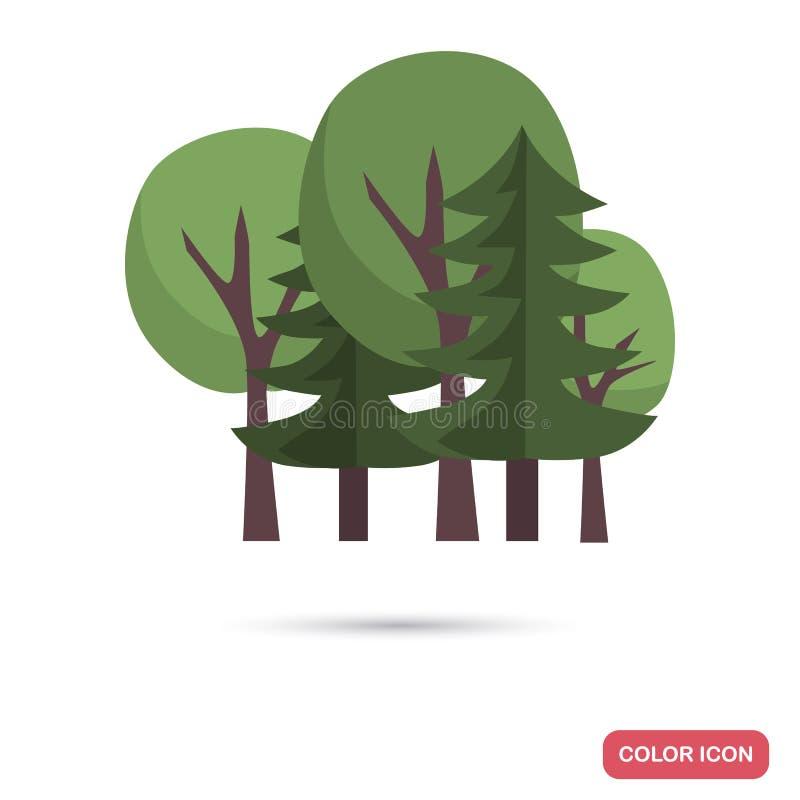 Icône plate de couleur mélangée de forêt illustration stock