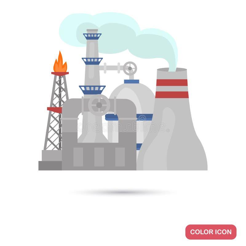 Icône plate de couleur de raffinerie de pétrole illustration libre de droits