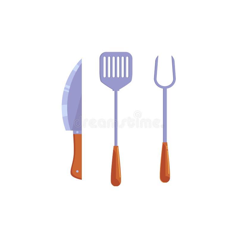 Icône plate de couteau de spatule de palette de cuisine de vecteur illustration libre de droits
