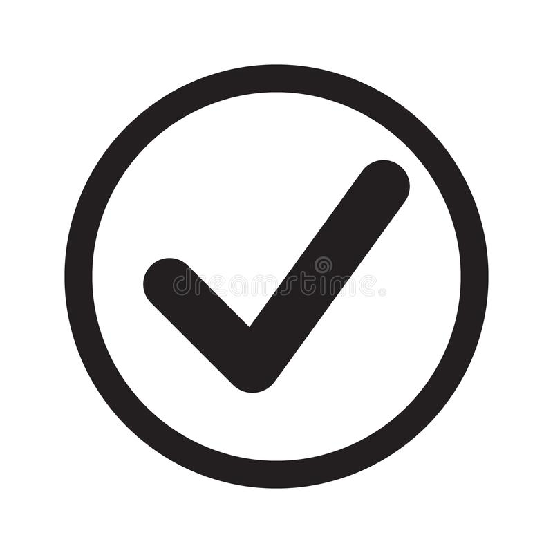 Icône plate de coutil Vérifiez l'icône, coche dans le signe rond illustration stock