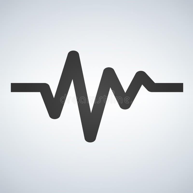 Icône plate de cycle cardiaque Cardiogramme de battement de coeur de signe Dirigez le logo pour le web design, le mobile et l'inf illustration libre de droits