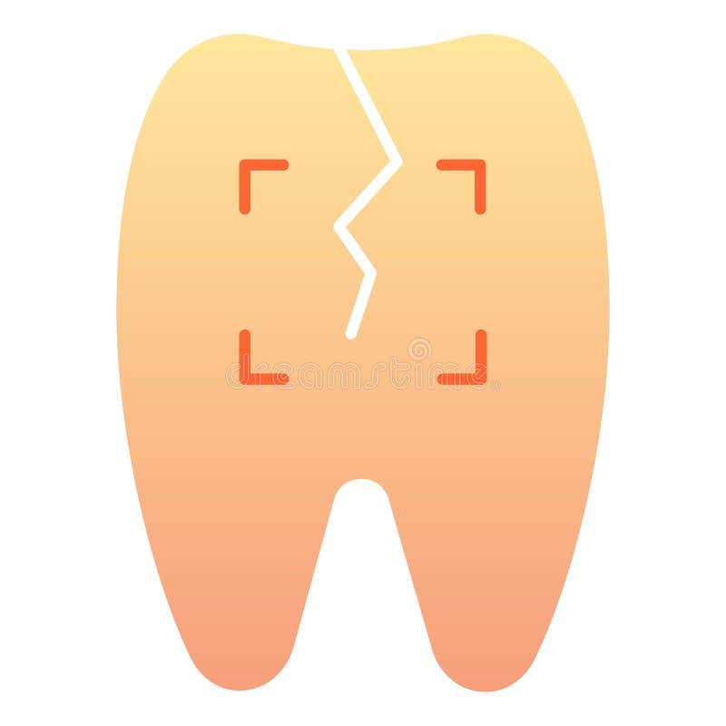 Icône plate de dent criquée Icônes de couleur d'art dentaire dans le style plat à la mode Conception de style de gradient de dent illustration de vecteur